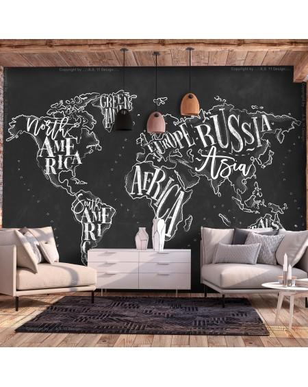 Samolepilna fototapeta Retro Continents (Black)