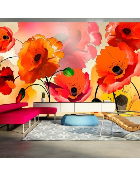 XXL stenska poslikava Velvet poppies