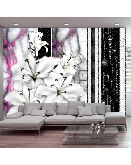 Stenska poslikava Crying lilies on purple marble