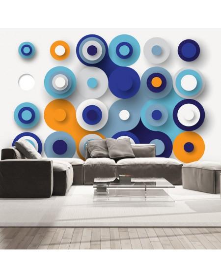 Stenska poslikava Geometry Of Blue Wheels